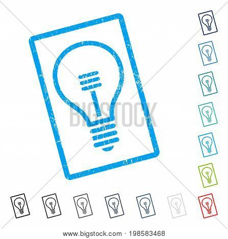 Lamp Bulb rubber watermark in some color versions.. Vector pictogram symbol inside rounded rectangular frame with grunge design and unclean texture. Stamp seal illustration, unclean sign.