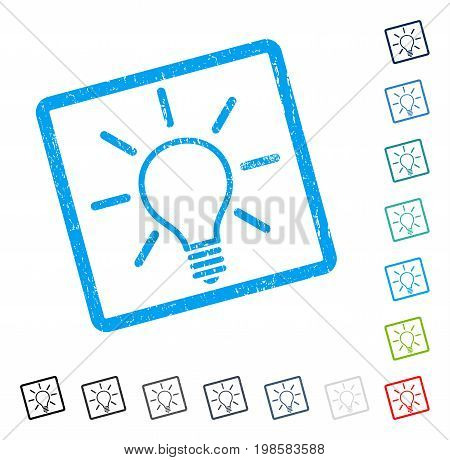 Light Bulb rubber watermark in some color versions.. Vector pictogram symbol inside rounded rectangular frame with grunge design and dust texture. Stamp seal illustration, unclean emblem.