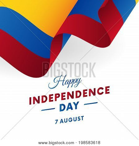 Colombia Independence Day. 7 august. Waving flag. Vector illustration.