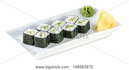 Rolls With Cucumber - Kappa Maki Plate Isolated On White