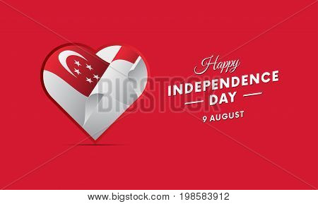 Singapore Independence Day. 9 august. Waving flag in heart. Vector illustration.