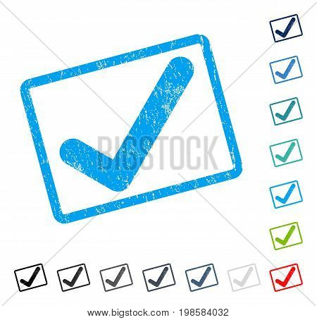 Ok rubber watermark in some color versions.. Vector icon symbol inside rounded rectangular frame with grunge design and unclean texture. Stamp seal illustration, unclean sign.