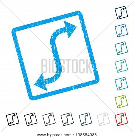 Opposite Bend Arrow rubber watermark in some color versions.. Vector pictogram symbol inside rounded rectangle with grunge design and dust texture. Stamp seal illustration, unclean sign.