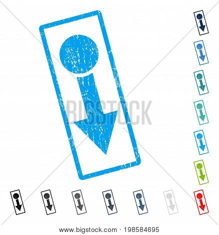 Pull Down rubber watermark in some color versions.. Vector icon symbol inside rounded rectangular frame with grunge design and scratched texture. Stamp seal illustration, unclean emblem.