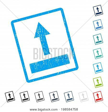 Pull Up rubber watermark in some color versions.. Vector icon symbol inside rounded rectangular frame with grunge design and dirty texture. Stamp seal illustration, unclean sticker.