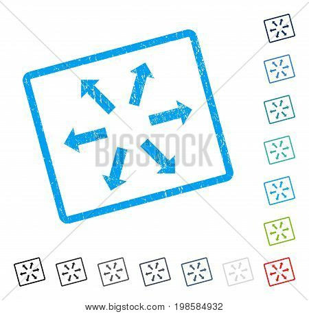 Radial Arrows rubber watermark in some color versions.. Vector icon symbol inside rounded rectangle with grunge design and dirty texture. Stamp seal illustration, unclean emblem.