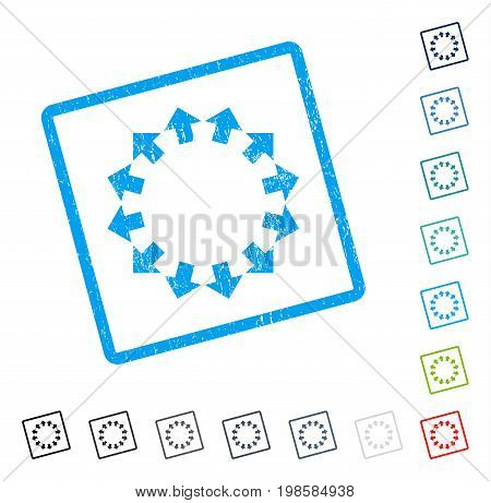 Radial Arrows rubber watermark in some color versions.. Vector pictogram symbol inside rounded rectangular frame with grunge design and dirty texture. Stamp seal illustration, unclean emblem.