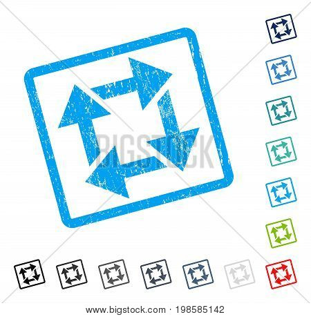 Recycle rubber watermark in some color versions.. Vector pictogram symbol inside rounded rectangle with grunge design and scratched texture. Stamp seal illustration, unclean sticker.