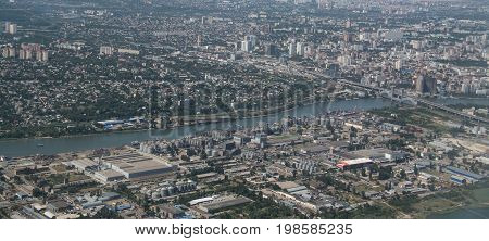 Rostov on Don, fly view, Big city in Russia