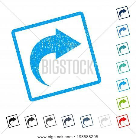 Redo rubber watermark in some color versions.. Vector pictogram symbol inside rounded rectangular frame with grunge design and dust texture. Stamp seal illustration, unclean emblem.