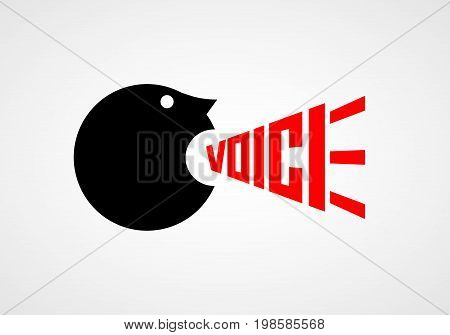 Voice. Crying man. Vector lettering RGB Global color