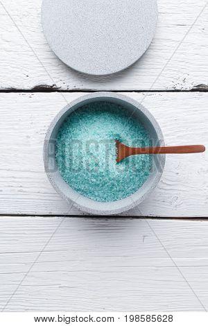 Bath salt on wooden table