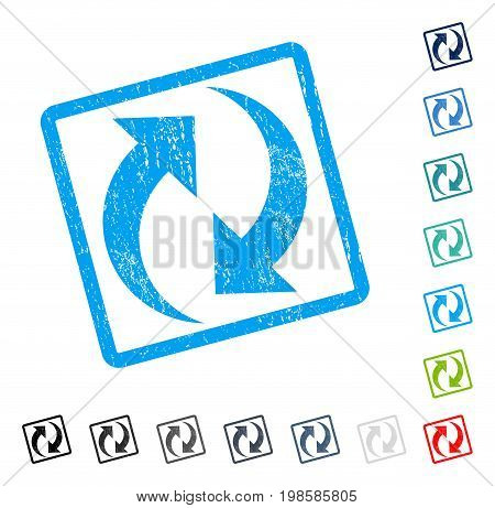 Refresh rubber watermark in some color versions.. Vector icon symbol inside rounded rectangular frame with grunge design and scratched texture. Stamp seal illustration, unclean emblem.