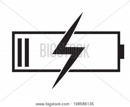 battery charging icon on white background. flat style design. battery charging sign.