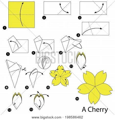 step by step instructions how to make origami A Cherry
