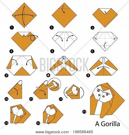 step by step instructions how to make origami A Gorilla