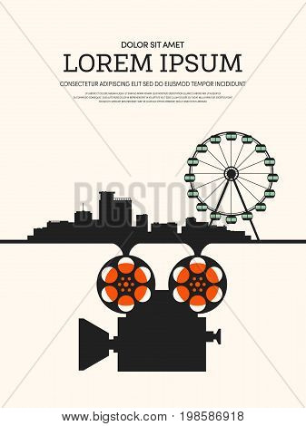 Movie and film modern retro vintage poster background design element template can be used of backdrop brochure leaflet vector illustration