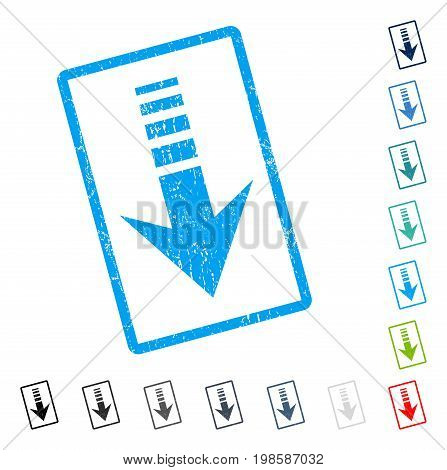 Send Down rubber watermark in some color versions.. Vector icon symbol inside rounded rectangle with grunge design and dirty texture. Stamp seal illustration, unclean emblem.