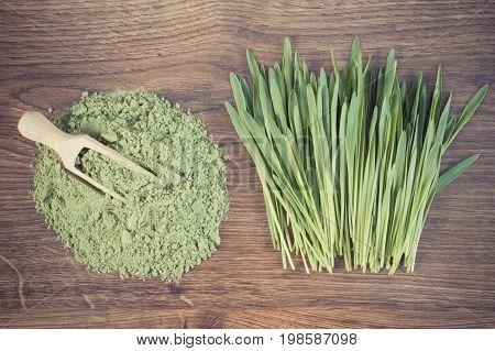 Vintage Photo, Barley Grass And Heap Of Young Powder Barley On Board, Body Detox