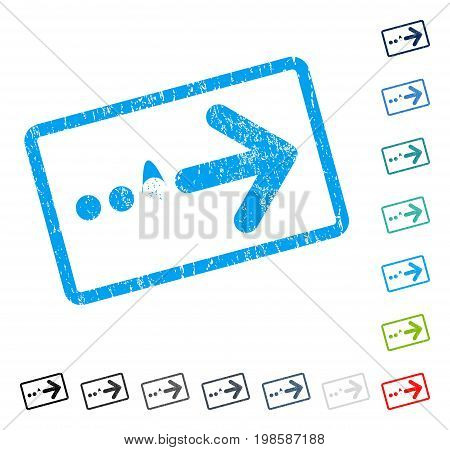 Send Right rubber watermark in some color versions.. Vector pictogram symbol inside rounded rectangle with grunge design and scratched texture. Stamp seal illustration, unclean sticker.