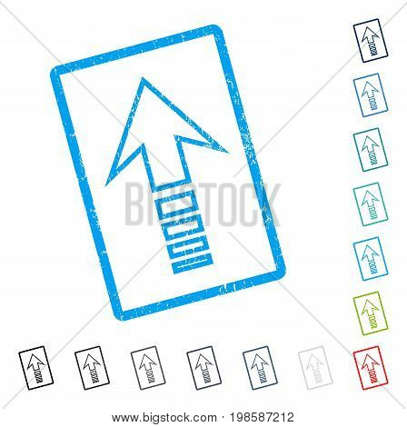 Send Up rubber watermark in some color versions.. Vector icon symbol inside rounded rectangular frame with grunge design and dust texture. Stamp seal illustration, unclean emblem.