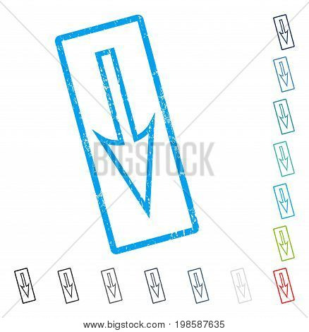 Sharp Arrow Down rubber watermark in some color versions.. Vector icon symbol inside rounded rectangle with grunge design and unclean texture. Stamp seal illustration, unclean emblem.