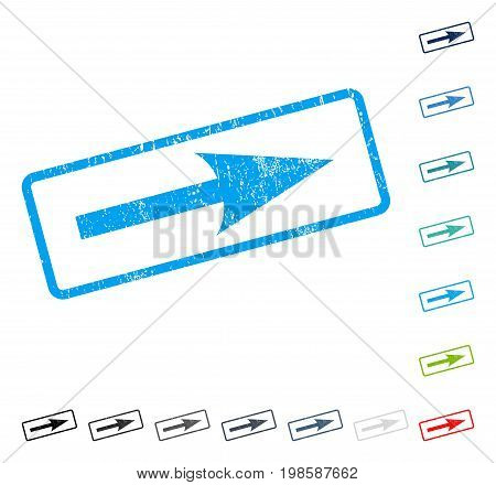 Sharp Arrow Right rubber watermark in some color versions.. Vector icon symbol inside rounded rectangle with grunge design and dirty texture. Stamp seal illustration, unclean emblem.