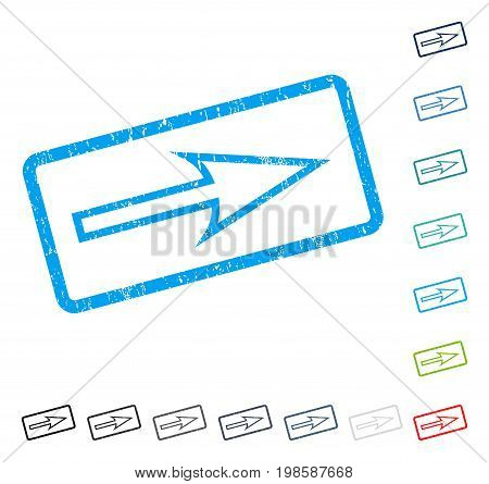 Sharp Arrow Right rubber watermark in some color versions.. Vector icon symbol inside rounded rectangle with grunge design and scratched texture. Stamp seal illustration, unclean emblem.