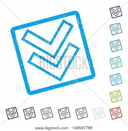 Shift Down rubber watermark in some color versions.. Vector pictogram symbol inside rounded rectangular frame with grunge design and dust texture. Stamp seal illustration, unclean sticker.