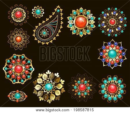 Set of jewelry ethnic Brooches adorned with jasper turquoise and lapis lazuli. Jewelery in boho style.