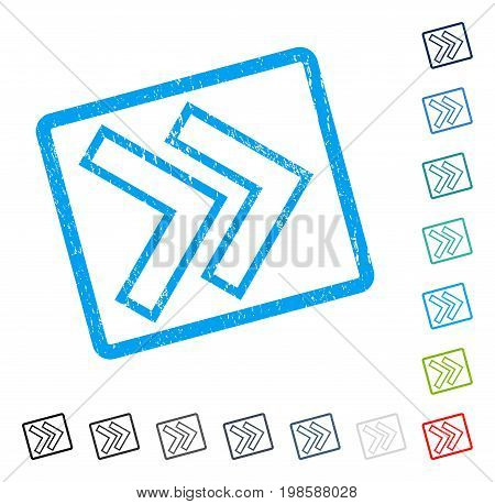 Shift Right rubber watermark in some color versions.. Vector icon symbol inside rounded rectangle with grunge design and unclean texture. Stamp seal illustration, unclean sign.