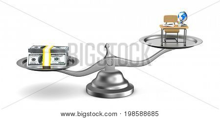 Money and education on scales. Isolated 3D illustration