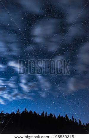 Swift Moving Clouds Across A Dark Night Sky Full Of Bright Stars, Line Of Trees