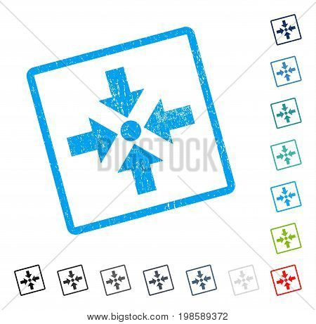 Shrink Arrows rubber watermark in some color versions.. Vector pictogram symbol inside rounded rectangle with grunge design and scratched texture. Stamp seal illustration, unclean sign.