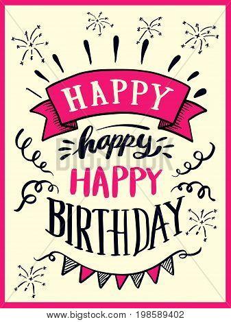 Happy Happy Happy Birthday Lettering
