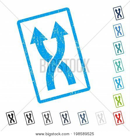 Shuffle Arrows Up rubber watermark in some color versions.. Vector icon symbol inside rounded rectangular frame with grunge design and unclean texture. Stamp seal illustration, unclean emblem.