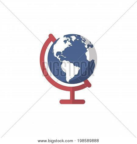 World planet earth isolated. Globe Colored Vector Illustration. Education simbol for web and graphic design. Flat style logo. Vector illustratio