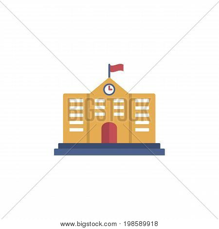 School Icon. School building. Single flat icon.  Education icon for web and graphic design. flat style logo. Vector illustration.