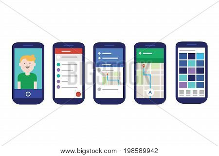 mobile apps user interface with material design style flat experience vector