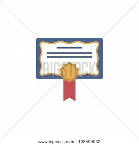 Diploma, certificate, award icon. Certificate icon. Education simbol for web and graphic design. Flat style logo. Vector illustration.