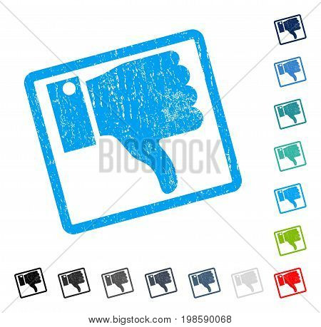 Thumb Down rubber watermark in some color versions.. Vector pictogram symbol inside rounded rectangular frame with grunge design and dirty texture. Stamp seal illustration, unclean emblem.