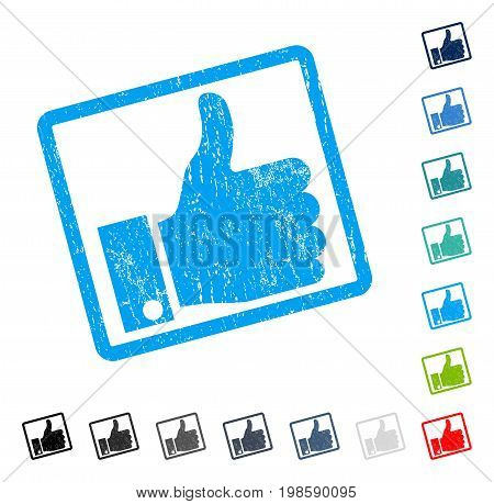Thumb Up rubber watermark in some color versions.. Vector icon symbol inside rounded rectangle with grunge design and scratched texture. Stamp seal illustration, unclean sign.