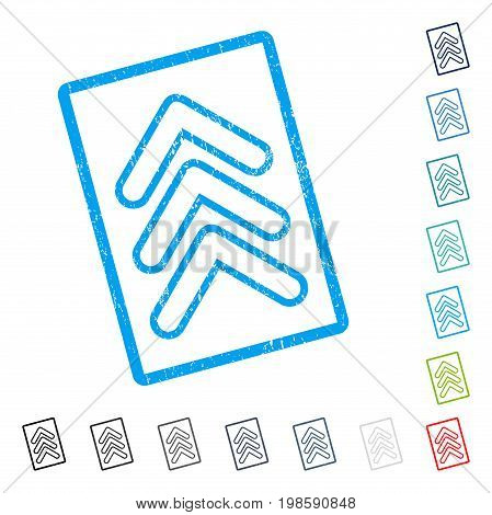 Triple Pointer Up rubber watermark in some color versions.. Vector icon symbol inside rounded rectangular frame with grunge design and dust texture. Stamp seal illustration, unclean sign.