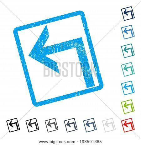 Turn Left rubber watermark in some color versions.. Vector icon symbol inside rounded rectangular frame with grunge design and unclean texture. Stamp seal illustration, unclean sign.