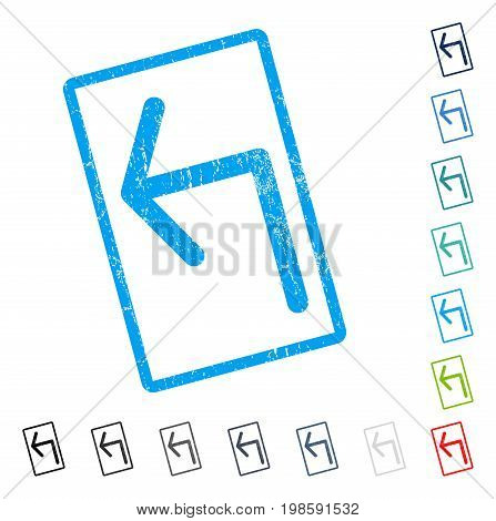 Turn Left rubber watermark in some color versions.. Vector pictogram symbol inside rounded rectangle with grunge design and dirty texture. Stamp seal illustration, unclean sticker.