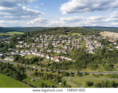Typical german village Bischoffen in the province of Hesse Germany