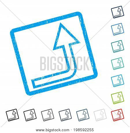 Turn Up rubber watermark in some color versions.. Vector pictogram symbol inside rounded rectangular frame with grunge design and dirty texture. Stamp seal illustration, unclean emblem.
