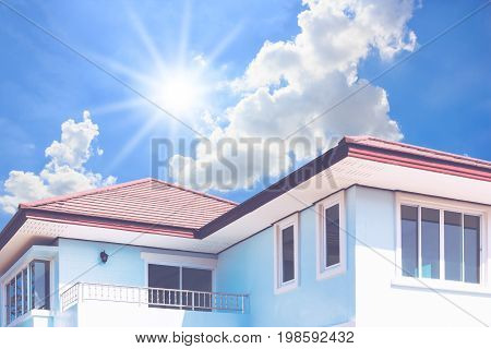 New house roof with daylight and blue sky background