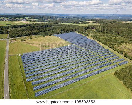 Solar panel farm with photovoltaic panels for clean solar energy