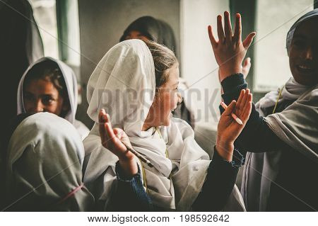 SKARDU, PAKISTAN - APRIL 17: An unidentified Children in a village in the south of Skardu are learning in the classroom of the village school April 17, 2015 in Skardu, Pakistan